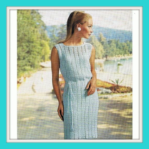 Stunning Lacy Crochet Dress Pattern 1960s PDF Pattern (T136)