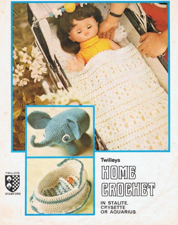 Dolls Blanket, Pillow, Elephant and Cradle Vintage Crochet Pattern PDF Toys (T201) Amigurumi