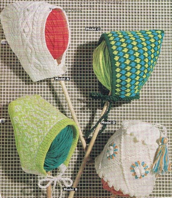 Four Patterns Pixie Bonnet Fez Cap Hat Knitting Pattern Vintage PDF 1960s (T219)