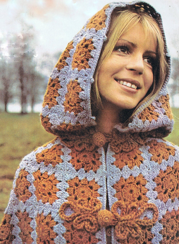 killarney cloak cape vintage 1970s crochet pattern both. Black Bedroom Furniture Sets. Home Design Ideas