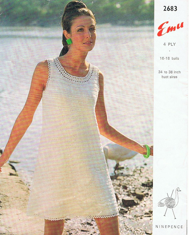 Crochet Simple Dress Pattern : Classic Crochet Dress Pattern PDF Vintage 1960s Simple and