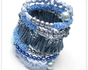 Chunky Fabric Bracelet with beads, blue, denim, memory wire ribbon bracelet