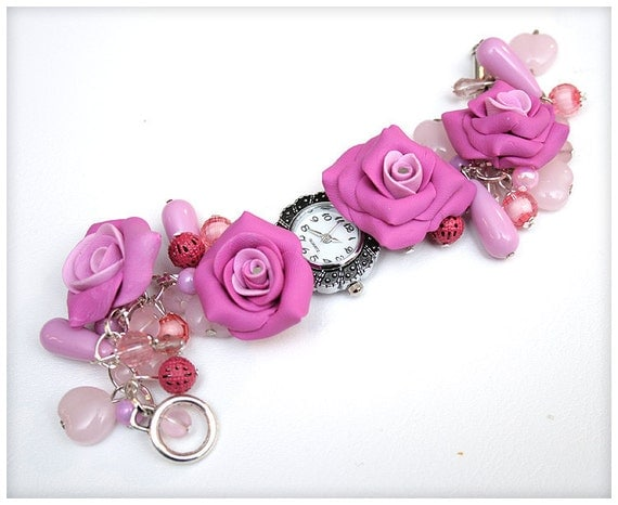 FREE SHIPPING... Chunky Beaded PINK Wrist watch with fabulous roses