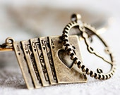 Play Card Clock Necklace Antiqued Clock Lariat Necklace Steampunk Necklace - N057