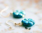 Teal Flower Earrings Little Flower Teal Blue Earrings Turquoise Flower Jewelry - E035
