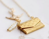 Vacation - Swallow Love Letter Necklace Envelope Locket Flying Swallow Necklace - N120