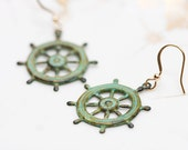 Patina Ship Wheel Earrings Pirate Ship Wheel Patina Earrings Nautical Earrings Verdigris Earrings - E123