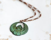 Egyptian Scarab Necklace Good Luck Pendant Patina Scarab Verdigris Pendant Egyptian Jewelry - N165