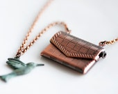 Swallow Envelope Necklace Antiqued Copper Envelope Locket Verdigris Patina Swallow Necklace - N171