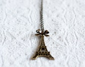 Eiffel Tower Necklace Sweet Bow Romantic Paris Long Necklace Eiffel Tower Pendant Antiqued Brass Jewelry - N174