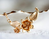 Flower Jewelry Gold Flower Necklace Spring Floral Necklace Flower Charm Gold Necklace - N179
