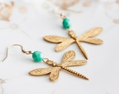 Brass Dragonfly Earrings Turquoise Bead Gold Dragonfly Dangle Earrings Whimsical Insect Earrings - E158