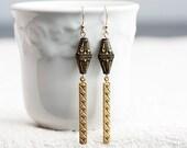 Diamond Etched Brass Drop Earrings Unique Black Gold Art Deco Bead Earrings Long Dangle Earrings - E183