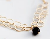 Drops Necklace Droplet Necklace Gold Drops Connector Black Teardrop Necklace Multi Drops Bridal Jewelry - N217