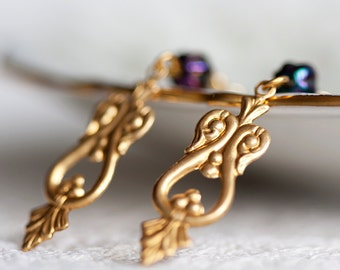 Tea Drop Earrings Purple Bead Art Deco Charms - E023