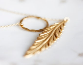 Ring Leaf Lariat Necklace Gold Brass Long Leaf Hammered Circle Ring - N069