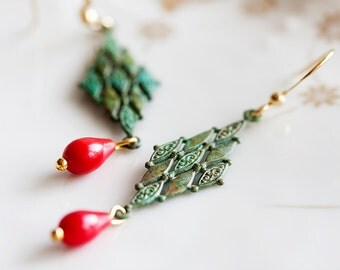 Diamond Patina Earrings Christmas Red Drop Green Earrings Verdigris Earrings - E052