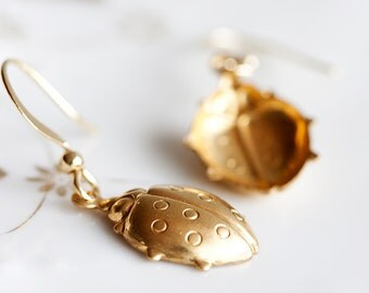Large Ladybug Earrings Brass Ladybug dangle Nature Insect Ladybird Earrings Cute Ladybug Jewelry - E054