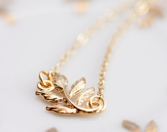Tiny Leaf Necklace Gold Filled Chain Gold Leaf Pendant Simple Leaf Jewelry - N093