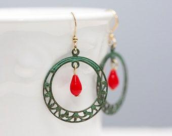 Patina Hoop Red Drop Earrings Verdigris Filigree Hoop Earrings Rustic Patina Earrings Verdigris Jewelry - E100