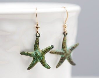 Patina Starfish Earrings Verdigris Star Fish Earrings Nautical Patina Jewelry Green Starfish Jewelry - E116