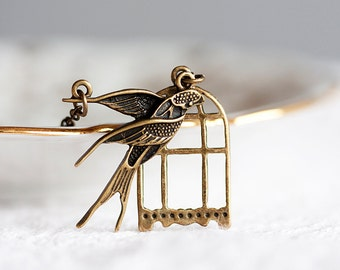 Birdcage Swallow Necklace Antiqued Bird Birdcage Necklace Brass Swallow Bird House Jewelry - N159