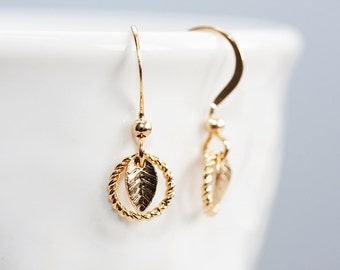 Circle Tiny Leaf Earrings Little Leaves Earrings Gold Leaf Tiny Earrings Leaf Jewelry Nature Inspired - E126