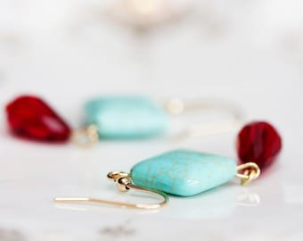Magnesite Turquoise Earrings Blood Red Crystal Drop Square Bead Earrings Pastel Spring Summer Jewelry - E134