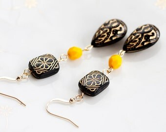 Black Floral Beaded Earrings Etched Bead Black Earrings Yellow Bead Bohemian Earrings Black Jewelry - E144