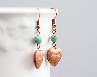 Copper Heart Earrings Heart Lockets Rustic Picasso Olive Green Beads Copper Earrings Cross Jewelry - E145