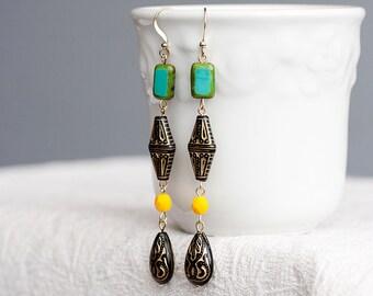 Long Bohemian Earrings Black Gold Green Yellow Boho Chic Earrings Colorful Beaded Earrings - E148