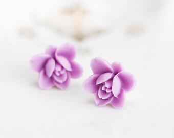 Purple Flower Stud Earrings Summer Lavender Ear Studs Lilac Flower Earring Studs Violet Ear Posts - E152