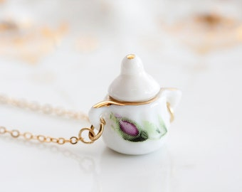 Porcelain Tea Set Necklace Miniature Sugar Bowl Charm Porcelain Necklace Floral Tea Party Jewelry - N187