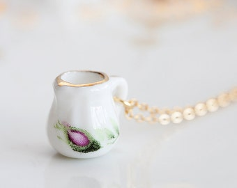 Cream Pitcher Miniature Necklace Porcelain Tea Set Necklace Floral Tea Party Porcelain Jewelry - N191