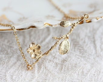 Cherry Blossom Branch Necklace Gold Flower Branch Necklace Plum Flower Charm Branch Jewelry - N201