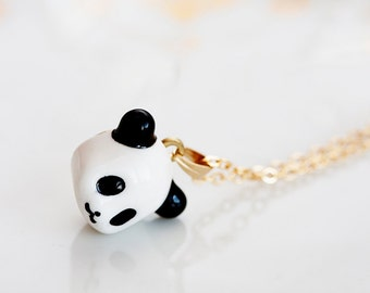 Little Panda Necklace Black and White Resin Panda Kawaii Necklace Cute Girl Jewelry For Panda Lover - N202