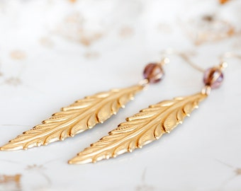 Feather Earrings Plum Red Bead Long Leaf Earrings Gold Feather Dangle Long Earrings Leaf Jewelry - E159