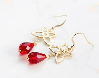 Red Drop Gold Flower Earrings Floral Dangle Ruby Teardrop Earrings Flower Jewelry Floral Jewellery - E168