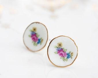 Porcelain Flower Stud Earrings Pastel Tea Set Saucer Floral Ear Posts Tea Party Porcelain Ear Studs - E174