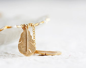 Feather Lariat Necklace Tiny Feather Charm Necklace Gold Feather Necklace Tribal Jewelry - N207