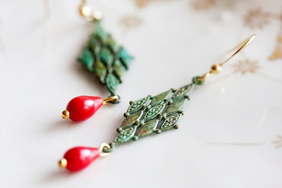 Diamond Patina Earrings Christmas Red Drop Green Earrings Verdigris Earrings - E052
