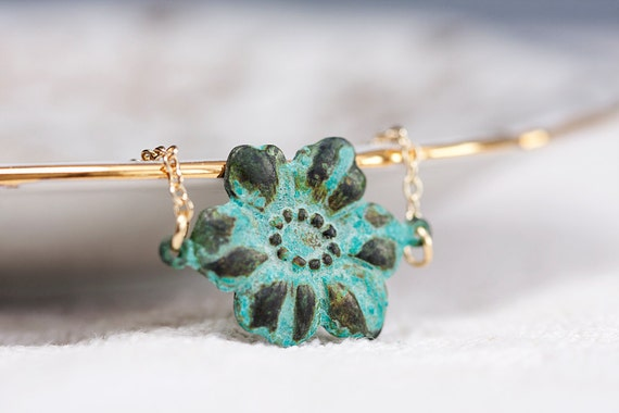 Verdigris Patina Flower Necklace - N098