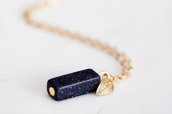 Black Stone Necklace Tiny Gold Leaf Sandstone Jewelry - N102
