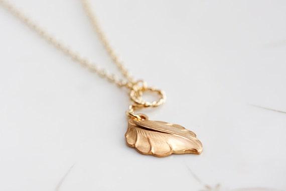 Tiny Leaf Lariat Necklace Gold Ring Leaf Necklace Domed Leaf Charm - N127
