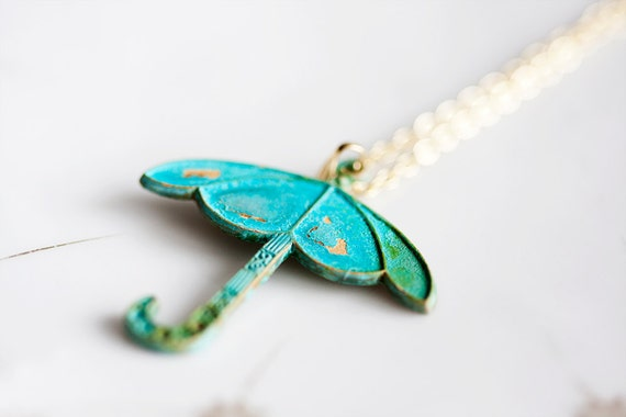 Patina Umbrella Necklace Turquoise Verdigris Umbrella Pendant Teal Patina Jewelry Rain Umbrella Charm - N149