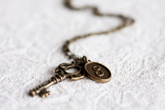 Personalized Key Necklace Skeleton Key Personalization Necklace Antiqued Brass Pendant - N153