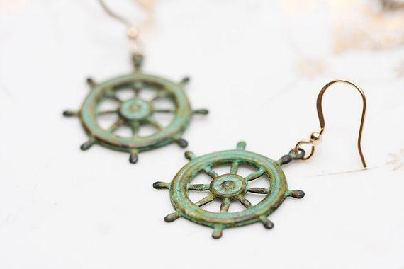 Patina Ship Wheel Earrings Pirate Ship Wheel Patina Earrings Nautical Earrings Verdigris Earrings - E123