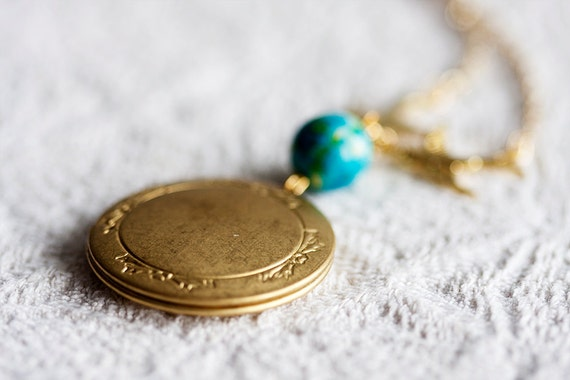 Swallow Simple Locket Necklace Turquoise Blue Bead Floral Locket Gold Swallow Necklace Photo Locket - N158