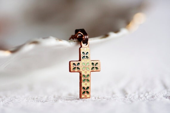 Enamel Cross Necklace Vintage Inspired Floral Cross Pendant Tiny Cross Jewelry - N162
