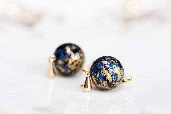 Gold Blue Bead Earrings Gold Drop Resin Round Bead Dangle Earrings Bead Jewelry - E133